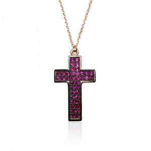 Κολιέ ροζ χρυσός σταυρός 14Κ, με αντικέ επεξεργασία και υπέροχα φούξια ζιργκόν!