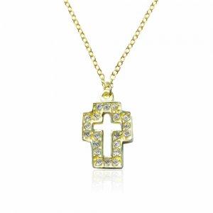 Κολιέ χρυσός διάτρητος σταυρός 14Κ. Είναι διακοσμημένος με λευκά ζιργκόν, έχει λουστρέ φινίρισμα και διακριτική αλυσίδα.