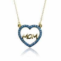 """Κολιέ καρδιά ΜΟΜ, από χρυσό 14Κ. H καρδιά είναι διακοσμημένη με γαλάζια ζιργκόν, ενώ η λέξη """"ΜΟΜ"""" έχει λουστρέ φινίρισμα."""