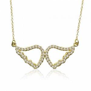 Κολιέ φτερά αγγέλου διάτρητα, από χρυσό 14 καρατίων σε υπέροχο σχέδιο! Τα κρεμαστά φτερά είναι στολισμένα με λαμπερά λευκά ζιργκόν στο περίγραμμα.