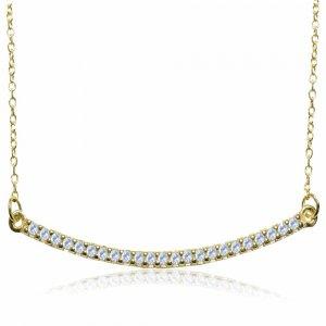 Κολιέ χαμόγελο, από χρυσό 14Κ με καμπυλωτό μοτίφ, διακοσμημένο με λευκά ζιργκόν.
