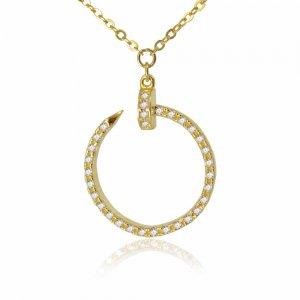 Κολιέ κύκλος από χρυσό 14Κ με κρεμαστό διάτρητο κύκλο, διακοσμημένο με λευκά ζιργκόν.