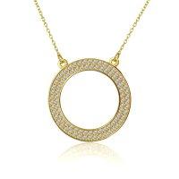 Γυναικείο κολιέ κύκλος διάτρητος από χρυσό 14Κ διακοσμημένος με λευκά ζιργκόν περιμετρικά