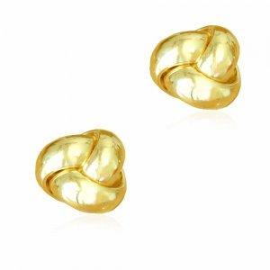 Σκουλαρίκια λουστρέ κόμπος, καρφωτά, από χρυσό 14 καρατίων