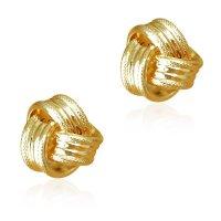 Σκουλαρίκια κόμπος καρφωτά, από χρυσό 14Κ, σε λουστρέ και σαγρέ φινίρισμα