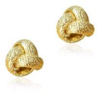 Κόμπος σκουλαρίκια καρφωτά, από χρυσό 14Κ σε σαγρέ φινίρισμα.