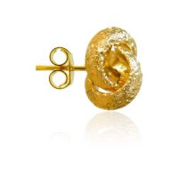 Kόμπος σκουλαρίκια καρφωτά, από χρυσό 14Κ σε σαγρέ φινίρισμα.