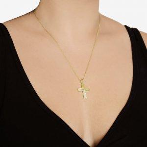 Γυναικείος οικονομικός σταυρός , διπλής όψης από χρυσό 14Κ. Έχει σαγρέ φινίρισμα με λευκά ζιργκόν στη μισή περίμετρο ή διάτρητο πλέγμα. Συνδυάστε τον με τις προτεινόμενες αλυσίδες.