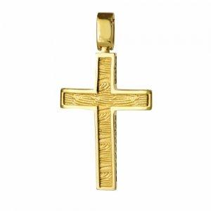 Ανδρικός οικονομικός σταυρός βάπτισης διπλής όψης από χρυσό 14Κ με ανάγλυφη υφή και ή διάτρητο πλέγμα. Συνδυάστε τον με τις προτεινόμενες αλυσίδες.