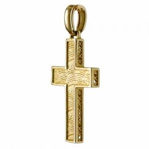 Ανάγλυφος ανδρικός βαπτιστικός σταυρός διπλής όψης από χρυσό 14Κ με ιδιαίτερη υφή ή διάτρητο πλέγμα. Συνδυάστε τον με τις προτεινόμενες αλυσίδες.