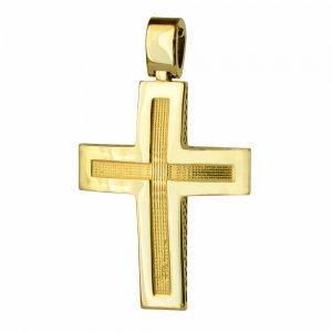 Σταυρός γραμμωτός ανδρικός διπλής όψης από χρυσό 14Κ με ανάγλυφη υφή ή διάτρητο πλέγμα. Συνδυάστε τον με τις προτεινόμενες αλυσίδες.
