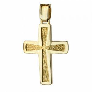 Ανδρικός ανάγλυφος σταυρός βάπτισης διπλής όψης από χρυσό 14Κ με συνδυασμό λουστρέ και σαγρέ υφής ή με διάτρητο πλέγμα. Συνδυάστε τον με τις προτεινόμενες αλυσίδες.