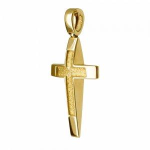 Σταυρός κυρτός διπλής όψης από χρυσό 14Κ με συνδυασμό λουστρέ και ανάγλυφης υφής ή απλό ματ φινίρισμα. Συνδυάστε τον με τις προτεινόμενες αλυσίδες.