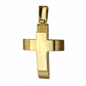 Ανάγλυφος και λουστρέ ανδρικός σταυρός
