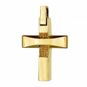 Ανδρικός μοντέρνος σταυρός-βάπτισης 14Κ