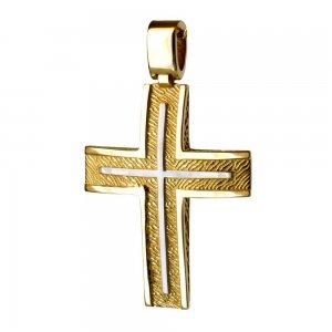 Δίχρωμος ανάγλυφος σταυρός βάπτισης 14Κ
