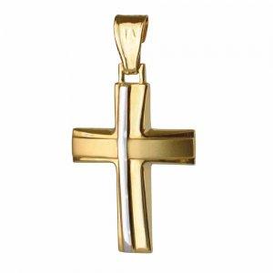 Δίχρωμος σταυρός βάπτισης 14Κ