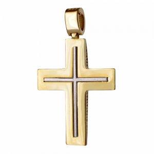 Κλασικός-δίχρωμος-σταυρός-βάπτισης 14Κ
