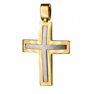 Κλασικός δίχρωμος σταυρός-βάπτισης 14Κ