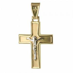 Ανάγλυφος δίχρωμος ανδρικός σταυρός-14Κ