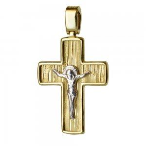 Δίχρωμος ραβδωτός ανδρικός σταυρός 14Κ