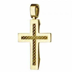 Χρυσός ανάγλυφος σταυρός βάπτισης 14Κ
