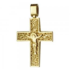 Σφυρήλατος χρυσός βαπτιστικός σταυρός 14Κ