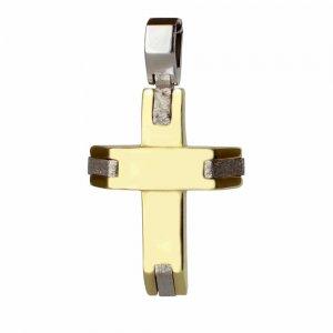 Μοντέρνος δίχρωμος ανδρικός σταυρός 14Κ