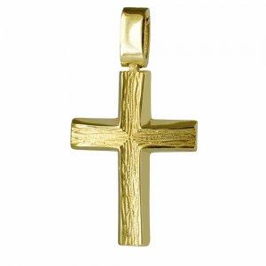 Χρυσός σαγρέ σταυρός βάπτισης διπλής όψης, από χρυσό 14 καρατίων