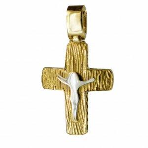 Ανάγλυφος μικρός ανδρικός σταυρός διπλής όψης