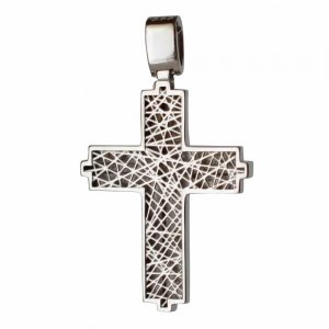 Επίπεδος λευκόχρυσος βαπτιστικός σταυρός διπλής όψης 14 καρατίων