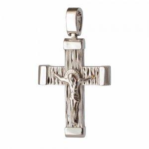 Ανάγλυφος λευκόχρυσος σταυρός βάπτισης διπλής όψης 14 καρατίων