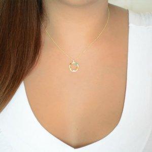Κολιέ πολύχρωμος κύκλος από χρυσό 14Κ διακοσμημένος με λευκά και χρωματιστά ζιργκόν.