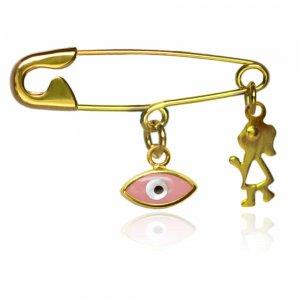 Παραμάνα παιδική για κοριτσάκι από χρυσό 9Κ, με ματάκι σε ροζ χρώμα και διάτρητη φιγούρα κοριτσιού.