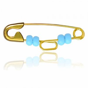 Παραμάνα παιδική από χρυσό 9Κ, διακοσμημένη με γαλάζιες συνθετικές πέτρες. Συνδυάστε τη με κρεμαστό ματάκι ή φυλαχτό.