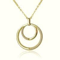 Κολιέ διπλός κύκλος από χρυσό 14Κ σε λουστρέ φινίρισμα με λευκά ζιργκόν.