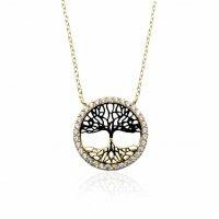 Κολιέ δίχρωμο δέντρο της ζωής από χρυσό 14Κ. Το δέντρο περιβάλλεται από κύκλο διακοσμημένο με λευκά ζιργκόν