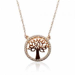 Κολιέ ροζ χρυσό δέντρο της ζωής 14Κ. Tο δέντρο περιβάλλεται από κύκλο διακοσμημένο με λευκά ζιργκόν.