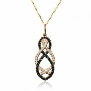 Κολιέ με δίχρωμα ζιργκόν από χρυσό 14Κ σε ιδιαίτερο διάτρητο σχέδιο με λευκό και μαύρο χρώμα.