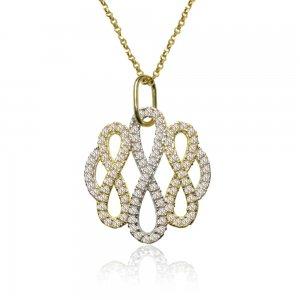Κολιέ ολόπετρο δίχρωμο από χρυσό και λευκό χρυσό 14Κ με ιδιαίτερο διάτρητο μοτίφ με λευκά ζιργκόν.