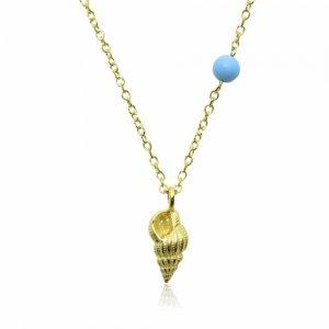 Κολιέ κοχύλι από χρυσό 14Κ με γαλάζια πέτρα.