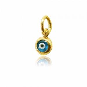Μενταγιόν χρυσό ματάκι μικρό σε 14Κ, με υπέροχο μπλε χρώμα. Διακριτικό κόσμημα που φοριέται μόνο του ή συνδυαστικά.