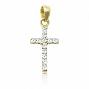 Μενταγιόν σταυρός διπλής όψης από χρυσό 14Κ, διακσομημένο με λευκά ή μαύρα ζιργκόν, ανάλογα με την όψη που θα φορεθεί.