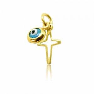 Μενταγιόν με διάτρητο σταυρουδάκι και ματάκι χρυσό 14Κ. Το σταυρουδάκι έχει λουστρέ φινίρισμα και το ματάκι είναι μπλε στρογγυλό μικρό.