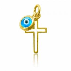 Μενταγιόν σταυρός με ματάκι μπλε, από χρυσό 14Κ. Ο μικρός σταυρός έχει λουστρέ φινίρισμα και το ματάκι είναι στρογγυλό, σε μεσαίο μέγεθος.