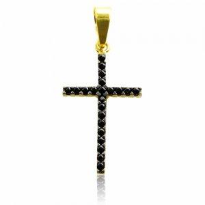 Μενταγιόν διπλής όψης σταυρός από χρυσό 14Κ, διακσομημένο με λευκά ή μαύρα ζιργκόν, ανάλογα με την όψη που θα φορεθεί.