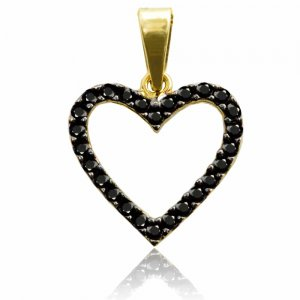 Μενταγιόν καρδιά διπλής όψης από χρυσό 14Κ, διακοσμημένη με λευκά ή μαύρα ζιργκόν, ανάλογα με την όψη από την οποία θα φορεθεί.
