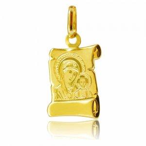 Φυλαχτό πάπυρος από χρυσό 14Κ, διακοσμημένο με χαραγμένη απεικόνιση της Παναγίας με το βρέφος. Συνδυάστε το με αλυσίδα ή παραμάνα.