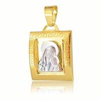 Φυλαχτό δίχρωμο ανάγλυφο από χρυσό και λευκό χρυσό 14Κ. Έχει λαμπερό λουστρέ φινίρισμα και ανάγλυφη αποτύπωση της Παναγίας με το βρέφος, με ματ λεπτομέρεια περιμετρικά. Συνδυάστε το με αλυσίδα ή παιδική παραμάνα.