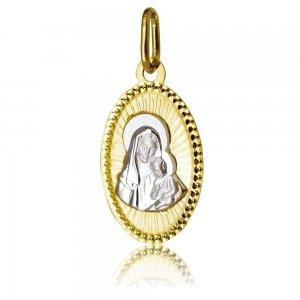 Φυλαχτό για μωρό οβάλ δίχρωμο από χρυσό και λευκό χρυσό 14Κ. Είναι διακοσμημένο με ανάγλυφη απεικόνιση της Παναγίας με το βρέφος και σφυρίλατο περίγραμμα. Συνδυάστε το με αλυσίδα ή παιδική παραμάνα.